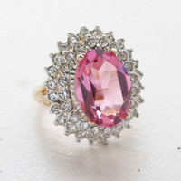Vintage Jewelry Pink Tormaline Cubic Zirconia and Clear Crystal Cocktail Ring in 18kt Gold Electroplate Made in the USA