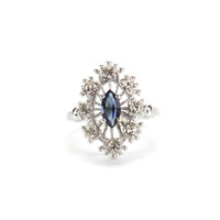 Vintage Ring Sapphire Cz Surrounded by Clear Austrian Crystals Cocktail Ring or 18kt White Gold Electroplated Made in America