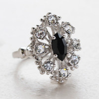 Vintage Ring Black Cz Surrounded by Clear Austrian Crystals Cocktail Ring or 18kt White Gold Electroplated Made in America