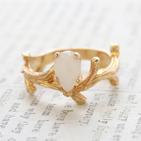 Vintage Ring Genuine Opal 18k Yellow Gold Electroplate Twig Style Band Ring made in the USA