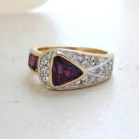 Vintage Jewelry Amethyst and Clear Crystal Pavé Ring Made in the USA