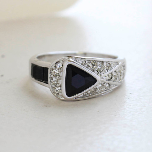 Vintage Jewelry Black and Clear Crystal Pavé Ring Made in the USA