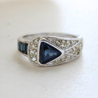 Vintage Jewelry Sapphire Cubic Zirconia and Clear Crystal Pavé Ring 18kt White Gold Plating Made in the USA