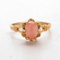 Vintage 1970s Genuine Coral Ring 18k Yellow Gold Electroplated Made in the USA