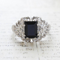 Vintage Ring Emerald Cut Black Crystal 18kt White Gold Plated Filligre Ring Made in the USA