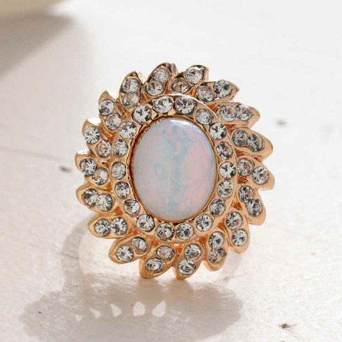 Vintage Jewelry Pinfire Opal Cocktail Ring in a 18k Gold Electroplated Setting Made in the USA