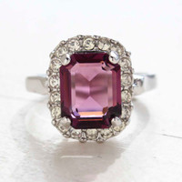 Vintage Jewelry 18k White Gold Plated Amethyst Crystal Cocktail Ring Made in the USA