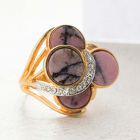 Vintage Jewelry Genuine Pink Onyx Cocktail Ring