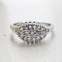 Vintage Jewelry 18kt White Gold Plated Ring with Clear Crystal Pavé Made in the USA