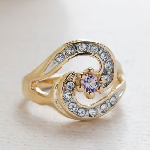 Vintage Ring 18k Yellow Gold Electroplated with Alexandrite and Clear Crystals made in the USA