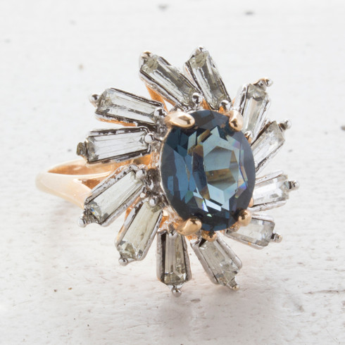Vintage Sapphire Crystal and Clear Baguette Crystal Cocktail Ring Plated in Yellow Gold Tone Made in the USA