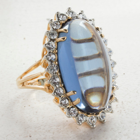Vintage Ring Sapphire Crystal Surrounded by Clear Crystals Cocktail Ring 18kt Antiqued Yellow Gold Electroplated Made in the USA