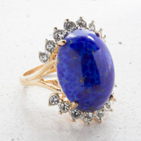 Vintage Genuine Lapis Lazuli Ring With Accent Crystals in a Yellow Gold Electroplated Setting Made in the USA