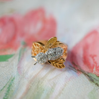 Vintage Bee Ring Clear Swarovski Crystals 18kt Yellow Gold Electroplated Made in USA