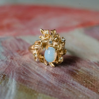 Vintage Flower Petals Ring with Jelly Opal and Clear Crystals 18k Yellow Gold Electroplated