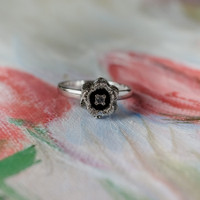 Vintage Flower Ring 18k White Antique Gold Electroplated