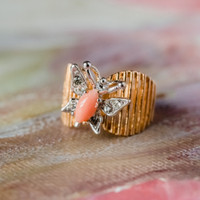 Vintage Butterfly Ring Genuine Coral and Clear Swarovski Crystals 18kt Yellow Gold Electroplated Made in USA