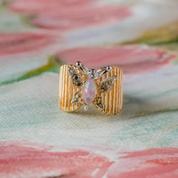 Vintage Butterfly Ring Harlequin Opal and Clear Swarovski Crystals 18kt Yellow Gold Electroplated Made in USA