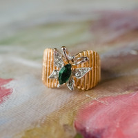 Vintage Butterfly Emerald and Clear Swarovski Crystals 18kt Yellow Gold Electroplated Made in USA