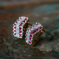 Vintage Ruby and Clear Swarovski Crystal Post Earrings Made in the USA