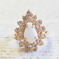 Vintage Victorian Style Genuine Opal with Clear Swarovski Crystals 18k Yellow Gold Electroplated Ring Made in USA