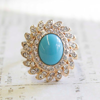 Vintage Turquoise Bead with Clear Swarovski Crystals 18k Yellow Gold Electroplated Ring Made in USA