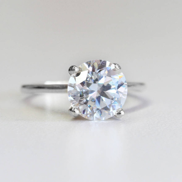 Vintage Silver Tone Cubic Zirconia Solitaire Engagement Style Ring Made in  USA