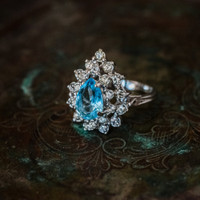 Vintage Victorian Style Ring Aquamarine and Clear Swarovski Crystals 18k White Gold Electroplated Made in USA
