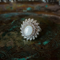 Vintage Jewelry Genuine Opal Cocktail Ring 18k White Gold Electroplated  Made in the USA