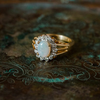Vintage Jelly Opal Ring with Clear Swarovski Crystals 18k Yellow Gold Electroplated Ring Made in USA