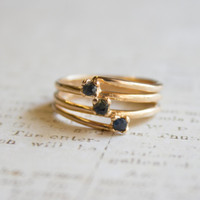 Vintage Genuine Sapphire 18k Yellow Gold Electroplated Ring Made in USA