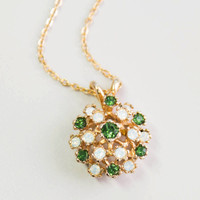 Vintage Opal Pendant Necklace with Tourmaline Swarovski Crystals Made in the USA