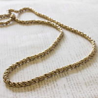 Vintage Oscar De La Renta 32 Inch Antiqued Gold Tone Heavy Chunky Rope Chain Necklace