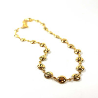 "Vintage Oscar De La Renta 15 Inch Gold Tone ""O"" Insignia Beaded Chain Necklace"