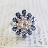 Vintage Ring Sapphire and Clear Swarovski Crystals 18k White Gold Electroplated Cluster Setting Made in USA