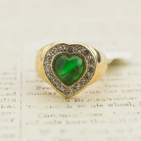 Vintage Ring Green and Clear Swarovski Crystals Heart Ring 18k Yellow Gold Electroplated Made in USA