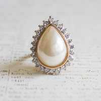Vintage Pear Shape Faux Pearl with Clear Swarovski Crystals 18k Yellow Gold Electroplated Cocktail Ring Made in USA