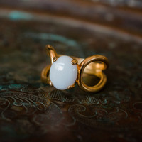 Vintage Genuine Opal Victorian Style Ring 18kt Yellow Gold Electroplated Made in USA