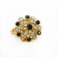 Vintage Ring Pinfire Opals and Swarovski Tourmaline Crystals 18k Yellow Gold Electroplated Ring Made in USA