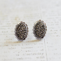 Vintage Earrings Genuine Marcasite Pave Posts Antiqued 18k White Gold Electroplated Made in USA
