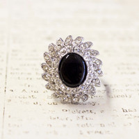 Vintage Genuine Onyx Ring Clear Swarovski Crystals 18k White Gold Electroplated Made in USA