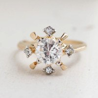 Vintage Cubic Zirconia and Swarovski Crystal 18k Gold Electroplated Engagement Ring Made in USA