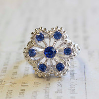 Vintage Filigree Ring 18k White Gold Electroplated Blue Tanzanite Swarovski Crystals Made In USA