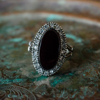 Vintage Genuine Onyx Antiqued 18k White Gold Electroplated Ring with Swarovski Crystals Made in USA