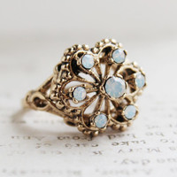 Vintage Filigree Ring with Pinfire Opals Antiqued 18k Gold Electroplated Made in USA
