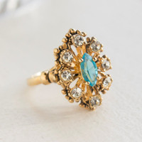 Vintage Cocktail Ring set with Blue Topaz and Clear Swarovski Crystals Antiqued 18k Yellow Gold Electroplated Made in USA
