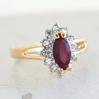 Vintage Garnet and Clear Swarovski Crystals 18kt Yellow Gold Plated Ring January Birthstone Made in USA #