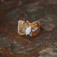 Vintage Butterfly Ring Pinfire Opal and Clear Swarovski Crystal 18kt Yellow Gold Electroplated Made in USA