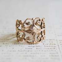 Vintage Filigree Ring Antiqued 18k Gold Electroplated Edwardian Style Made in USA #R553