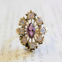 Vintage Filigree Cocktail Ring Amethyst Swarovski Crystals and Pinfire Opals Antiqued 18k Yellow Gold Electroplated Made in USA
